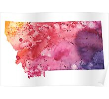 Watercolor Map of Montana, USA in Orange, Red and Purple - Giclee Print of my Own Painting Poster