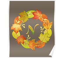Autumn Leaf Grey Initial Monogram N Poster