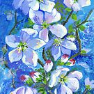 White blossom on blue by Maureen Whittaker