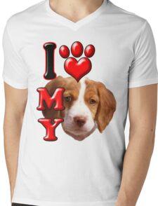 I Love My Brittany Spaniel Mens V-Neck T-Shirt