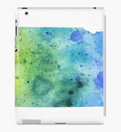 Watercolor Map of Nebraska, USA in Blue and Green  iPad Case/Skin