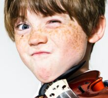 Freckled red-hair boy playing violin Sticker