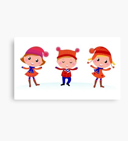 Collection of cute winter children Canvas Print