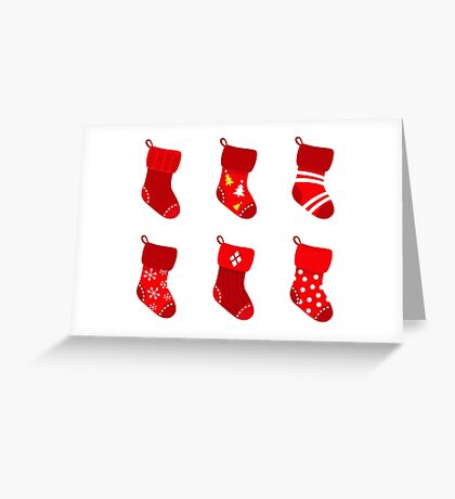 Cute Christmas Socks set Greeting Card