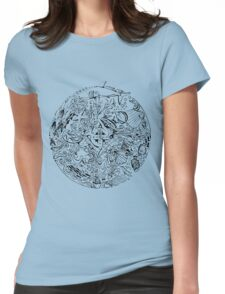 Under The Sea, Black & Blue Womens Fitted T-Shirt