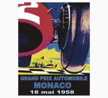 MONACO GRAND PRIX;quot; Vintage Auto Racing Print Kids Tee