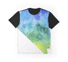 Watercolor Map of Nevada, USA in Blue and Green - Giclee Print of My Own Watercolor Painting Graphic T-Shirt