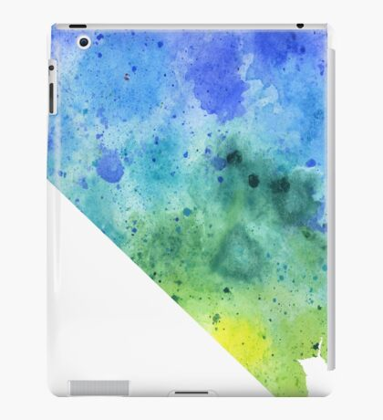 Watercolor Map of Nevada, USA in Blue and Green iPad Case/Skin