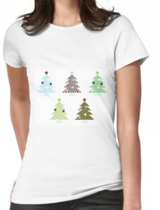 Christmas Trees set in geometrical clean style Womens Fitted T-Shirt