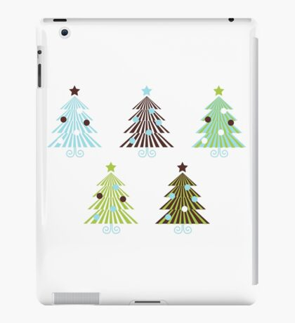 Christmas Trees set in geometrical clean style iPad Case/Skin
