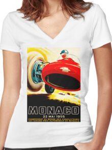MONACO GRAND PRIX; Vintage Auto Racing Print Women's Fitted V-Neck T-Shirt