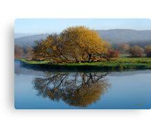 Misty Golden Sunrise Reflection Landscape Canvas Print