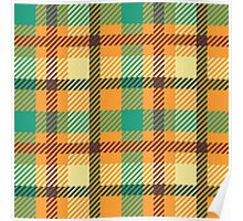 Plaid - Orange, Green, White Poster