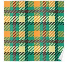 Plaid - Green, Orange, White Poster