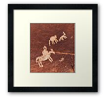 Wolf Ranch rock art .3 Framed Print