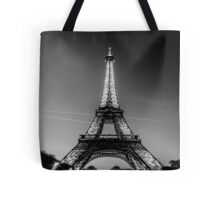 Eiffel Tower and sunset (Black and White) Tote Bag