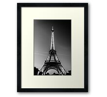 Eiffel Tower and sunset (Black and White) Framed Print