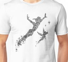 Peter Pan and Tinker Bell in Black and White Unisex T-Shirt