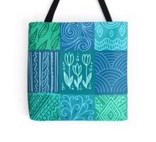 Blue hand drawn patchwork Tote Bag