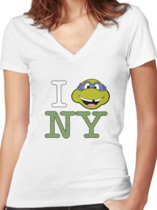 New York Donnie Women's Fitted V-Neck T-Shirt