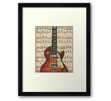 Gibson Les Paul Guitar on Vintage Sheet Music Framed Print