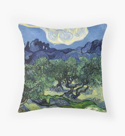 Vincent Van Gogh - Olive Trees in a Mountainous Landscape Throw Pillow