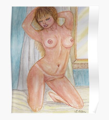 Morning Pose Watercolor  (Nude) Poster