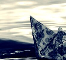 Paper Boat on Fjord Sticker