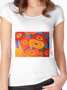 Happy Orange Poppies Women's Fitted Scoop T-Shirt