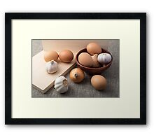 Still life in dark light on a background of textile Framed Print