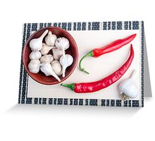 Chilli peppers and garlic in a wooden bowl Greeting Card