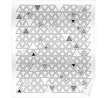 Geometric Repeating Triangles (Monochrome) Poster