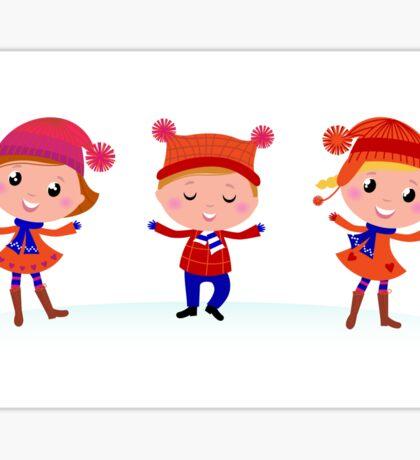 Collection of cute winter children Sticker