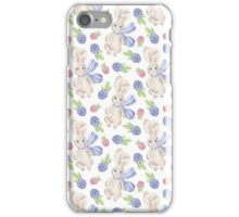 Cute white pink lavender watercolor bunny berries  iPhone Case/Skin