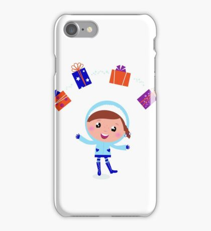 Little christmas child with presents iPhone Case/Skin