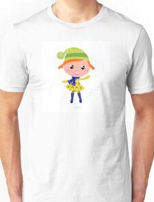 Happy cute little Christmas Child - vector cartoon Illustration Unisex T-Shirt