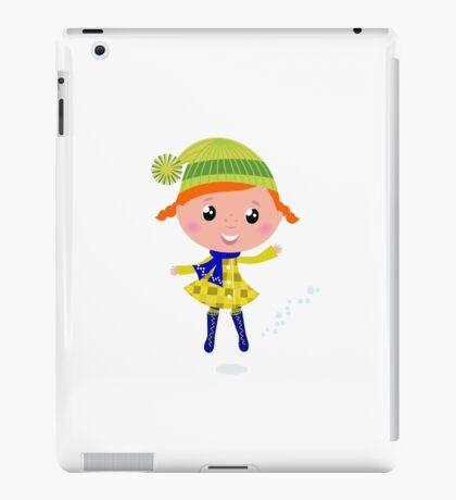 Happy cute little Christmas Child - vector cartoon Illustration iPad Case/Skin