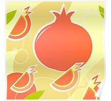 Retro Pomegranate texture or background Poster