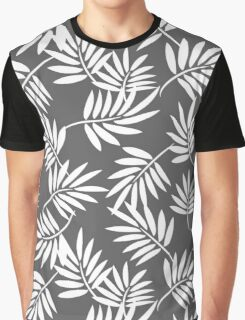 White leaves on a grey background pattern Graphic T-Shirt