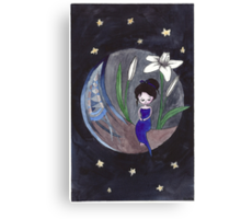 White Lily Moon Girl Canvas Print