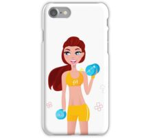 Cute blond fitness woman isolated on white iPhone Case/Skin