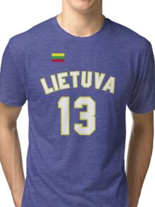 Sarunas Marciulionis 13 Lithuania Basketball Tri-blend T-Shirt