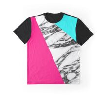 Modern Pink Teal Black White Marble Geometric Tricut Graphic T-Shirt