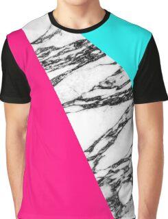 Modern Pink Teal Black White Marble Geometric Tricut Graphic T-Shirt