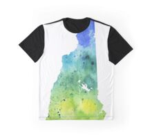 Watercolor Map of New Hampshire, USA in Blue and Green - Giclee Print of My Own Watercolor Painting Graphic T-Shirt