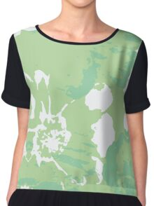 Green Abstract Flower Painting Chiffon Top