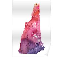 Watercolor Map of New Hampshire, USA in Orange, Red and Purple - Giclee Print of my Own Painting Poster