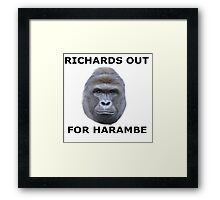 Richards out for Harambe Framed Print