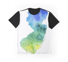 Watercolor Map of New Jersey, USA in Blue and Green - Giclee Print of My Own Watercolor Painting Graphic T-Shirt