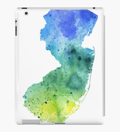 Watercolor Map of New Jersey, USA in Blue and Green  iPad Case/Skin